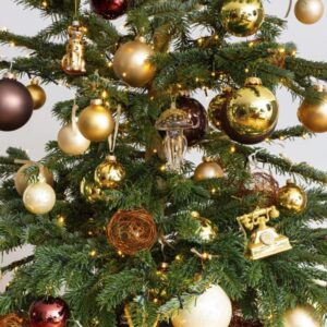 Decorated Christmas tree gold/bronze (Size M)