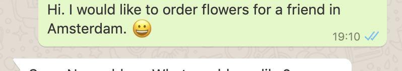 Whatsapp screen: someone ordering flower delivery via Whatsapp